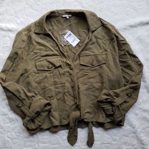 Charlotte Russe Army Greeb Button Up Top